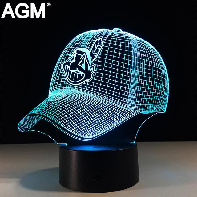 3D LED Casco de Fútbol Americano NFL Cleveland Indians Táctil Luz de La Noche 7 colores Cambiante USB Lámpara de Escritorio lámparas de Mesa Para Niños Regalos Juguetes
