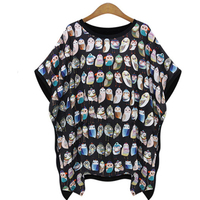 2015 New Style Cartoon Owl Printed Women S T Shirts Brand Summer Oversize Short Sleeve T