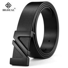 BIGDEAL cinturones de piel auténtica de vaca para hombre, cinturones de Estilo vintage a la moda para hombre, hebilla de pin, cintura de 2018 100 cm, talla 30 42, 130