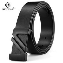 BIGDEAL fashion cow genuine leather 2018 new men fashion vintage style male belts for men pin buckle 100 130cm waist size 30 42