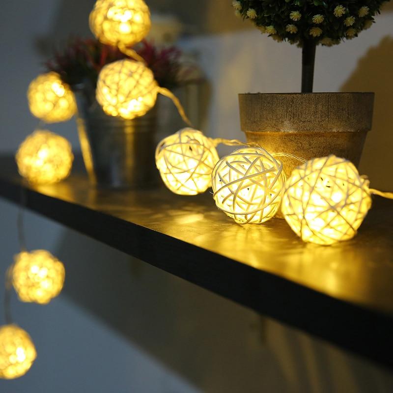 5m 20 Rattan Balls Lights Led String Fairy Holiday Christmas Lights Outdoor Guirlande Lumineuse Exterieur Luces Decorativas
