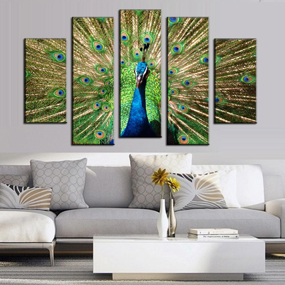 Big Paintings For Living Room. 5 Pcs Set Animal Wall Painting Green Peacock Canvas Big Size Top  Home Decoration Pictures For Living Room Cuadros in Calligraphy