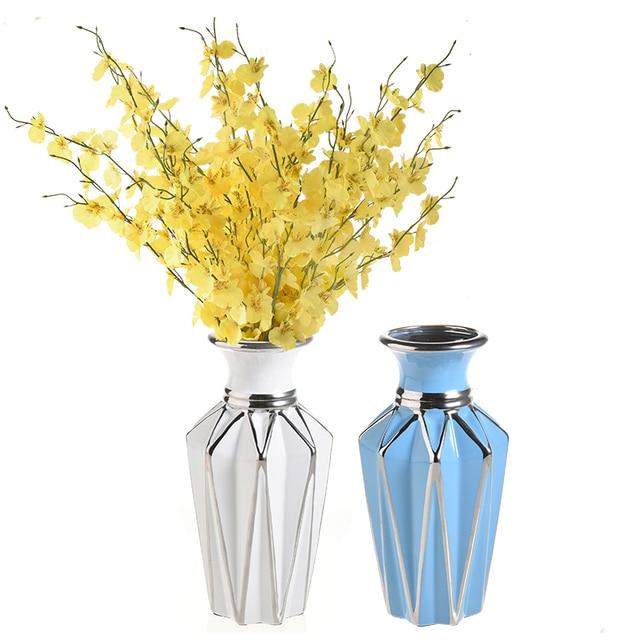 Modern Ceramics Flowers Vase Diamond Shaped Vase Creative Room