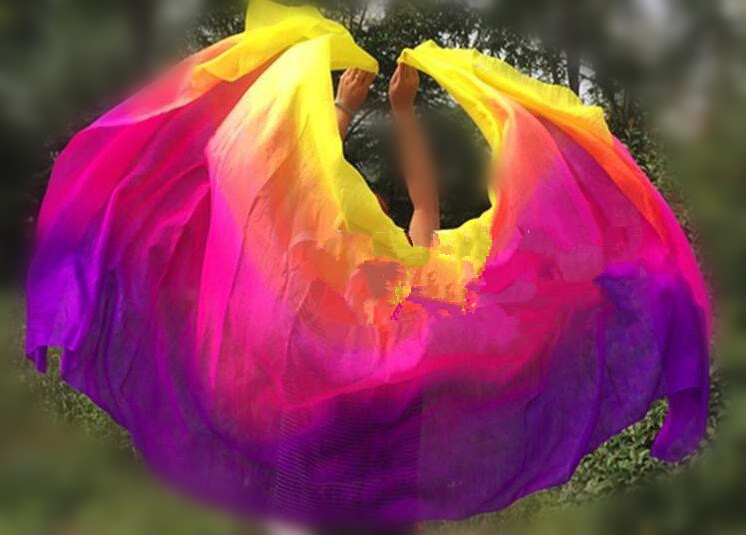 Customized Belly Dance Silk Veils 200cm 250cm 270cm Hand Thrown Scarf Shawl Yellow Orange Pink Purple Gradient  Free Shipping(China)