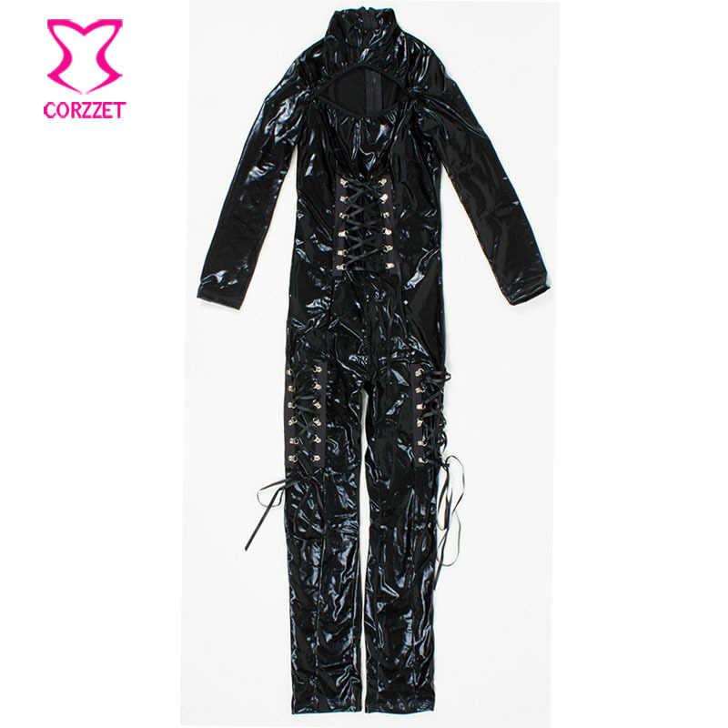 Zwart Sexy PVC & Latex Catsuit Cosplay Animal Halloween Kostuum Vinyl Catwoman Jumpsuit Volwassen Vrouwen Plus Size Kat Kostuum