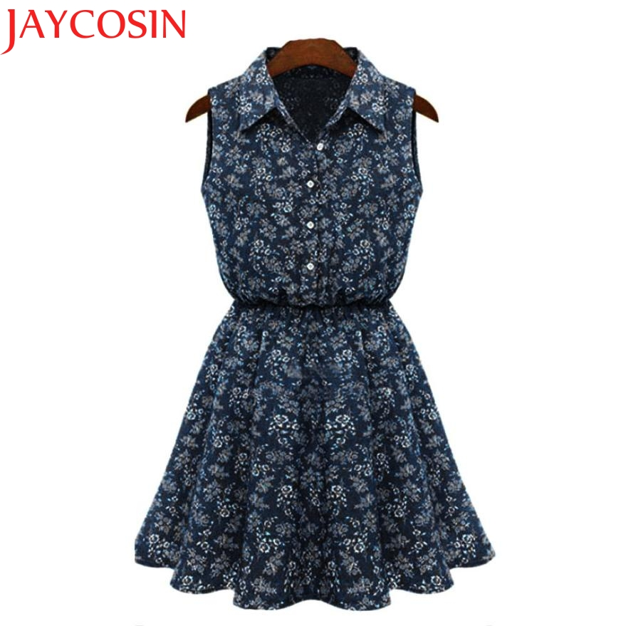 JAYCOSIN Dress Design Fashion Women Summer Sleeveless Turn-Down Collar Button Flowers Print Mini Denim Jeans Dress Vestido