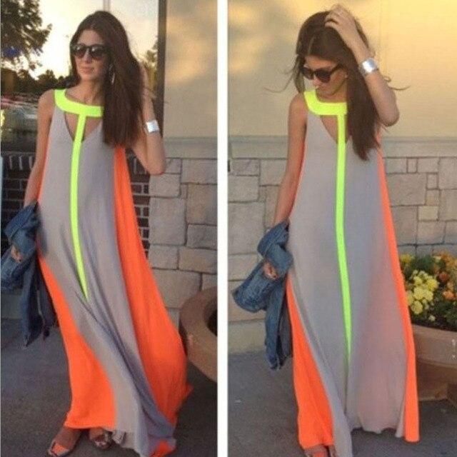 9afdf682c3 Boho Summer Women Long Dress Fluorescent Color Robe Sleeveless Beach  Evening Party Long Maxi Chiffon Dress Femme Feminino Kaftan