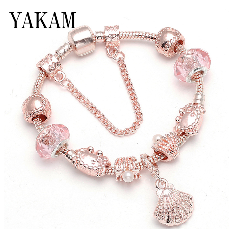 Sea crab glass pearl shell beads fairy original bangles for women charms safe chain rose gold color bracelet diy fashion jewelry
