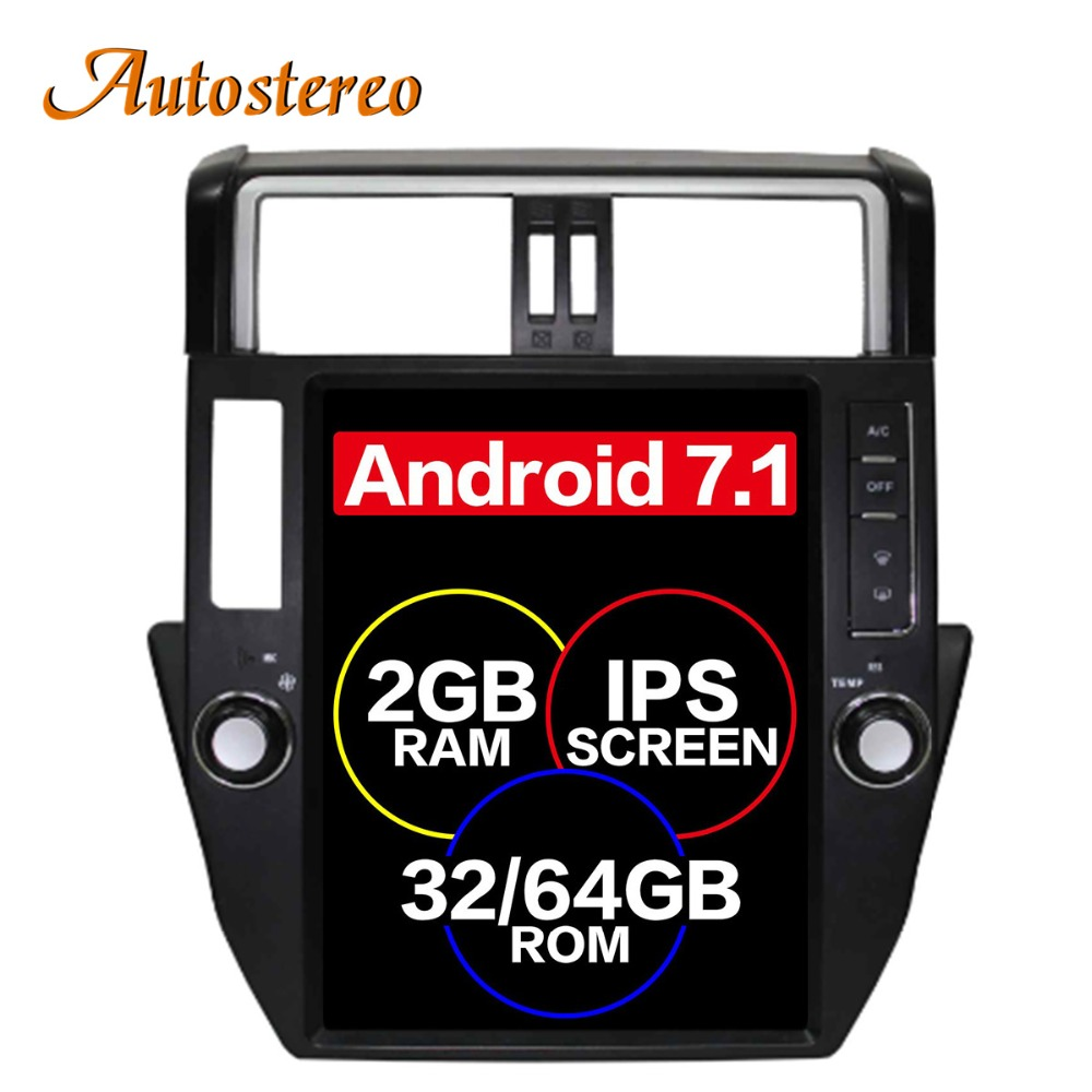 Pur Android Tesla style De Voiture Aucun Lecteur DVD GPS Navigation Pour TOYOTA Land Cruiser Prado 150 2010-2013 headunit multimédia FAI