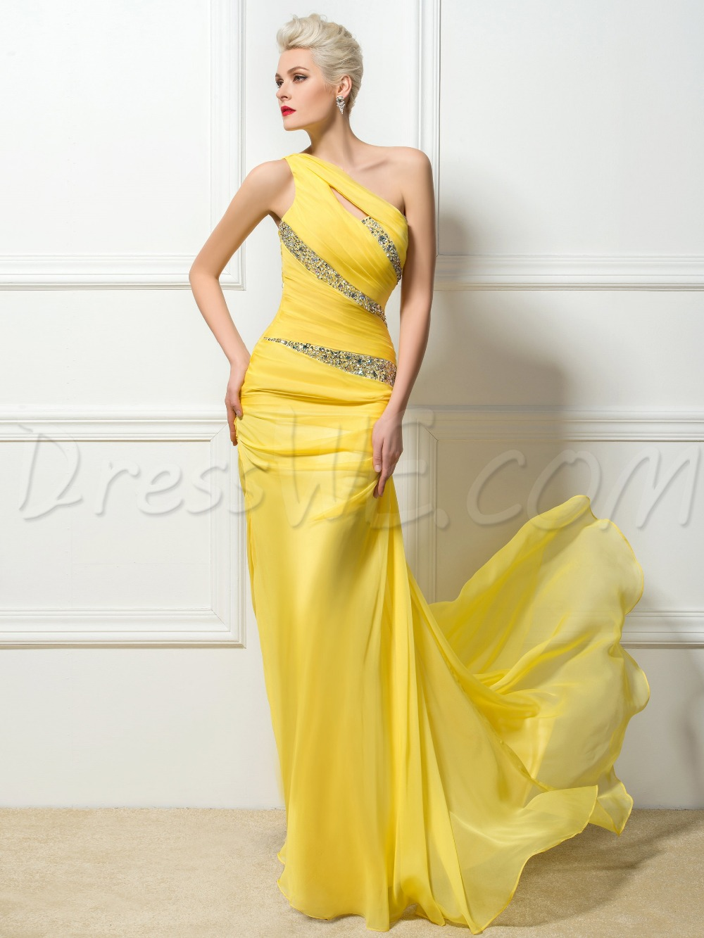Sexy Formal One Shoulder Evening Dresses 2017 Yellow Ruffles Beaded