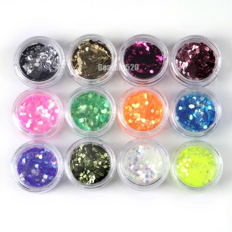 72 Potten Acryl Glitter Poeder Shiny Charmant Nail Art Decoratie