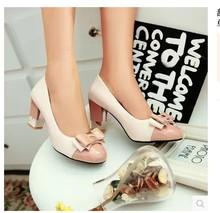 Lady's sweet hot sell bowtie soft comfortable round toe 7Cm (2.7″)thick high heeled shoes in spring summer autumn 4colors