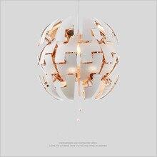 Креативный Арт Деко нордический трансформирующий светодиодный D35/D50cm античный латунный серебристый внутри снаружи круглый, белый, акриловый подвесной светильник