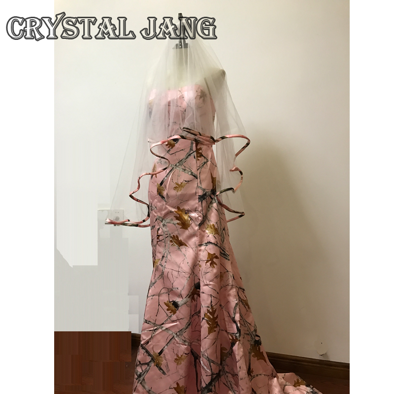 Mermaid Wedding Dresses 2017 Pink CAMO Satin Court Train Bridal Dress Lace-up Bridal Gown With Veil Real Image