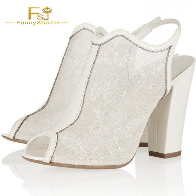 0e2d9f9cdf FSJ Ladies Ankle Boots High Heels 10cm Shoe Woman Autumn Sexy Size 16  Women's Bridal White Lace Floral Peep Toe Chunky Heel