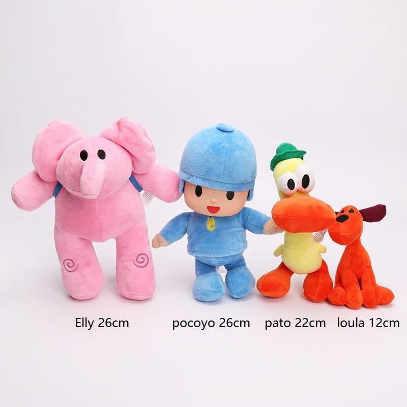 4pcs/lot 12-26cm Full Set POCOYO Cartoon Stuffed Animals & Plush Toys Hobbies Loula & Elly & Pato & POCOYO plush toy