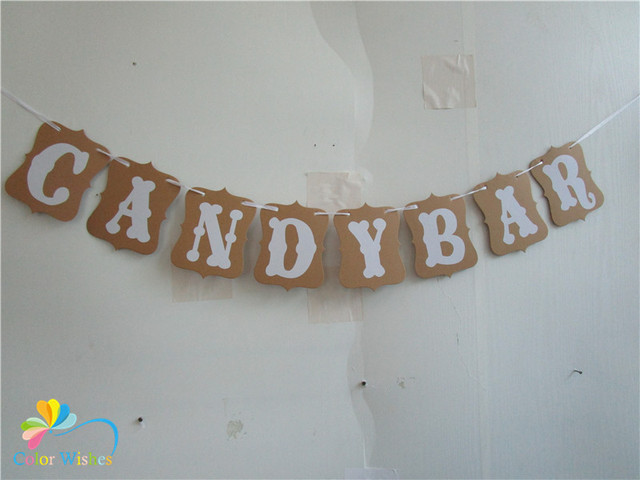 One set 12*16cm kraft paper candy bar banner bunting garland