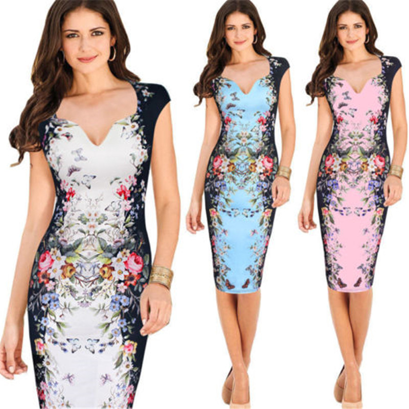 Woman summertime printing pencil dress Vneck line comfort nurse dress size S-XL