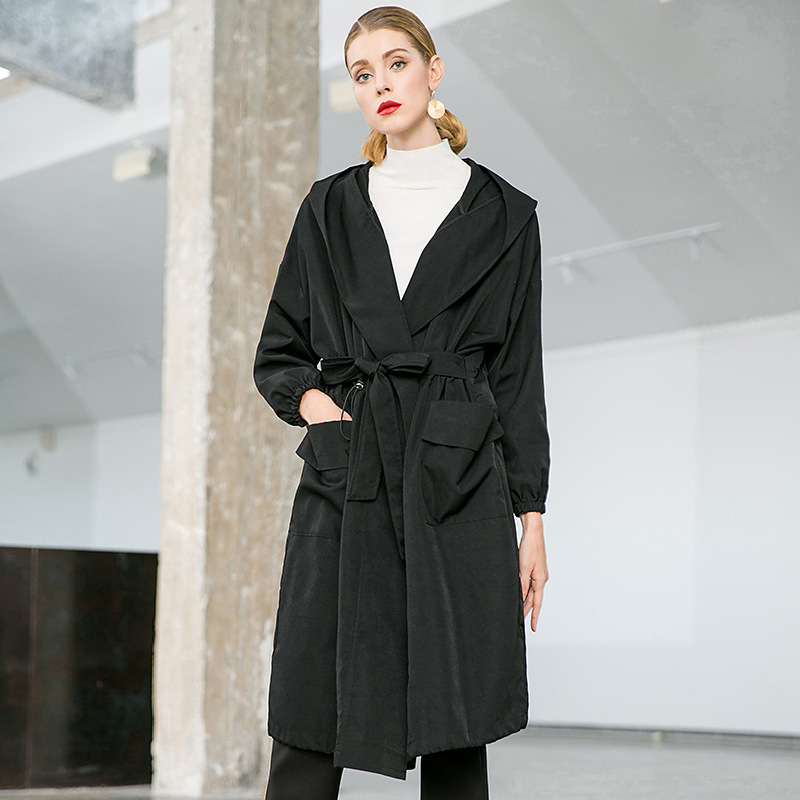 Solid loose straight hooded trench coats 2018 new plus size women autumn long