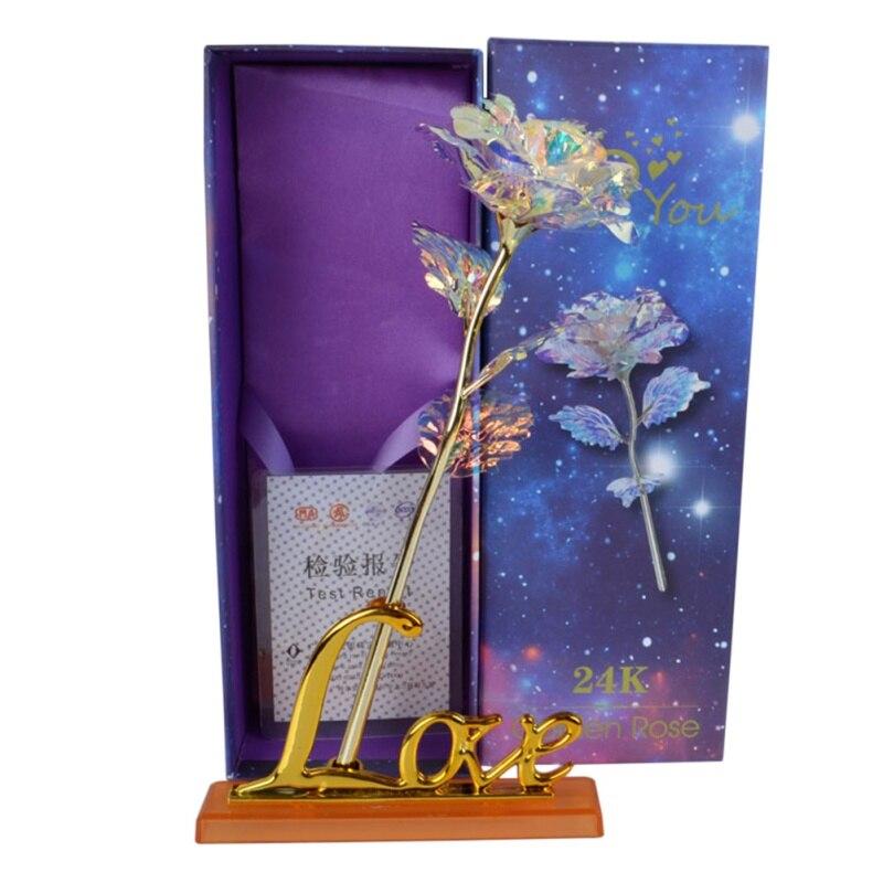 Für Licht Stern Goldfolie Rose Mutter der Tag Valentinstag Geschenk Geschenk Gold Überzogene Rose Blume Urlaub Hochzeit party Dekoration