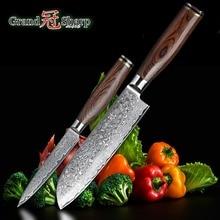 Дамаск Ножи комплект из 2 предметов из дамасской стали японский, из нержавеющей стали VG10 сантоку ножи Пособия по кулинарии Кухня Набор ножей для повара набор инструментов