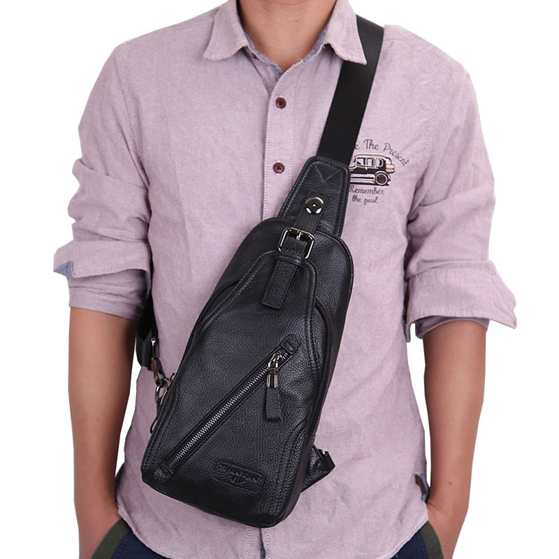 font b Men b font High Quality Leather Cowhide Fashion Chest Pack Sling Back Pack