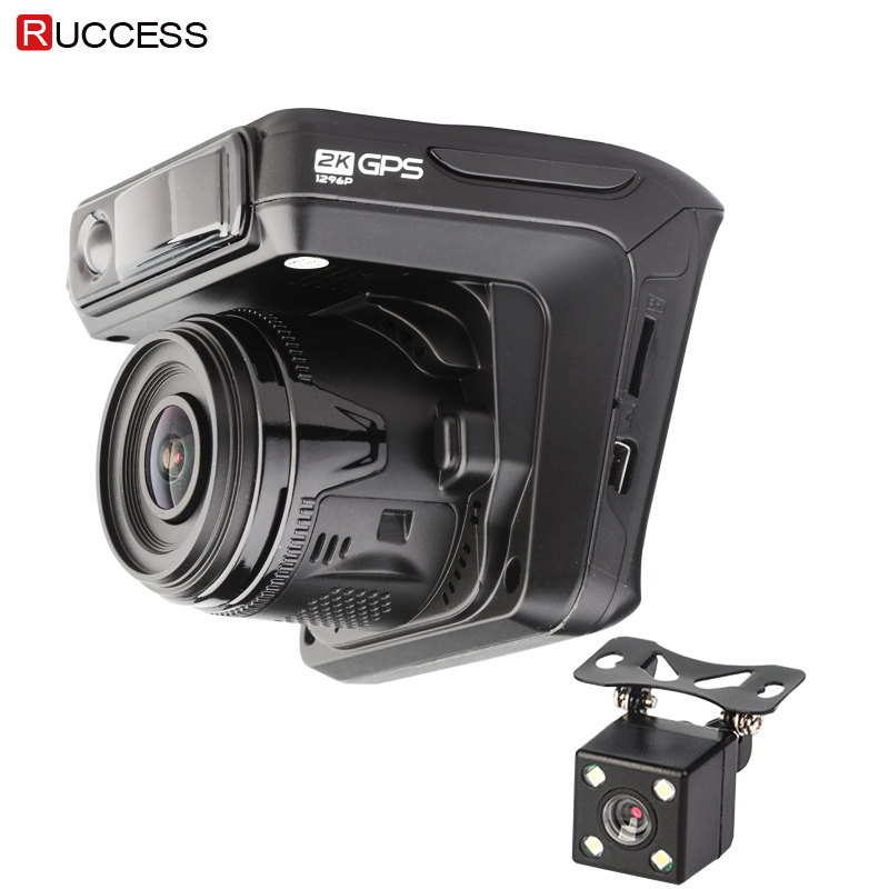 Ruccess Dash Camera DVR 3 in 1 Radar Detector with GPS for Russia Full HD 1080P 1296P Dashcam 2 Camera Video Recorder for Car цена