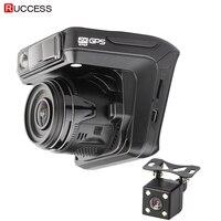 Ruccess Dash Camera DVR 3 in 1 Radar Detector with GPS for Russia Full HD 1080P 1296P Dashcam 2 Camera Video Recorder for Car