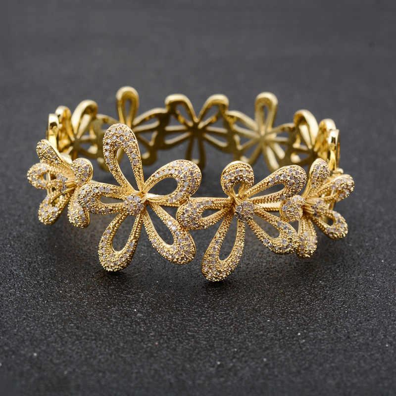 Dazz новый роскошный большой цветок в нигерийском стиле невесты резное ожерелье серьги, кольцо, браслет комплект тонкой циркониевые золотого цвета ювелирные комплекты Dubai