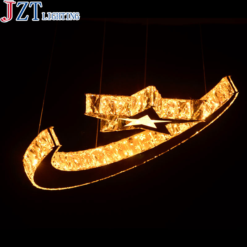 M Concise And Fashionable K9 Crystal Stars And Moon Pendant Light 5730 Led Patch Light Source Personality Lampfor Coffee Bar