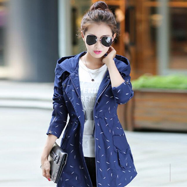 New  2016 Fashion Women  Coat Medium Long Elegant Hooded Outwear Slim Waist Dot Print Outwear Causal Windbreaker C218
