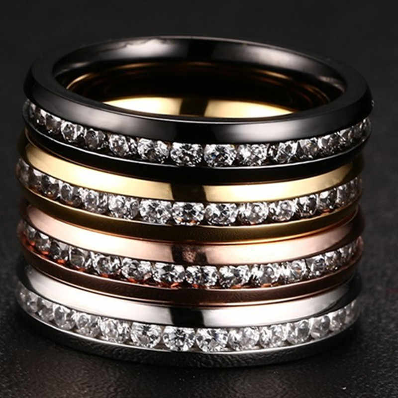 QianBei 4MM Stainless Steel Ring Rose Silver Gold Black CZ Inlay Cubic Zirconia Women Men Wedding Cocktail Graduation Xmas Gift