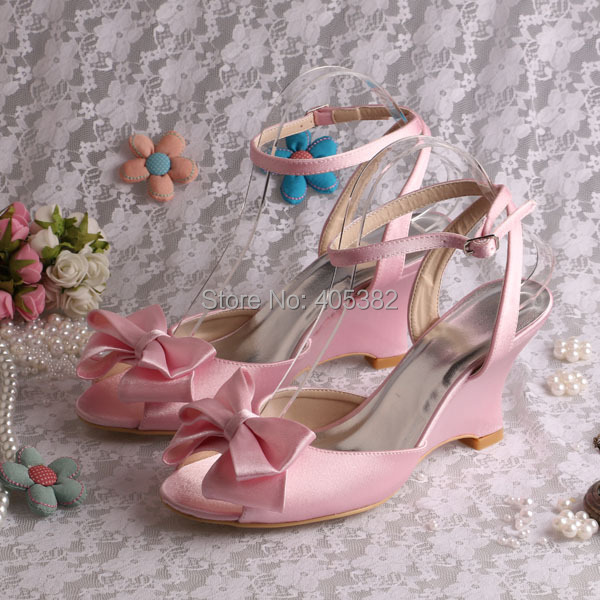 (20 Colors)2016 New Latest Design Wedges Lady Sandals Shoes Wedding Pink Satin with Bows