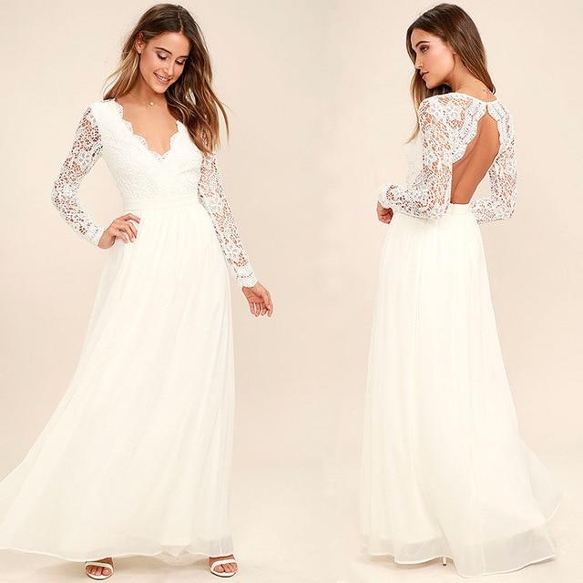 White Wedding Dress 2018 Long Sleeve Chiffon Lace Bridal Gown Illusion Cut-out  Back V-Neck Robe De Mariee Beach vestido de novia 9dcc814bf