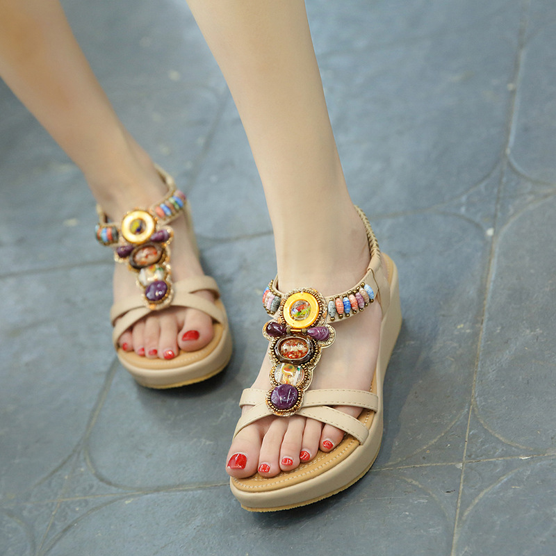 2019 new summer women 39 s sandals bohemian slope with Liu Ding rhinestones large size casual comfort versatile shoes in High Heels from Shoes