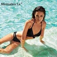 Minimalism Le Push Up Bikini 2018 Cross Patchwork Women Swimwear Swimsuit Halter Top Print Maillot Biquini