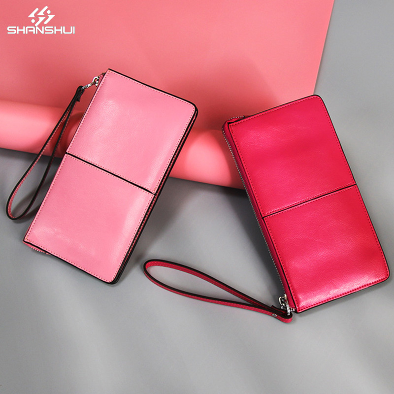 Genunie Oil Wax Leather Wallet Phone Bag Strap Large Capacity Purse <font><b>15</b></font> colors for iPhone <font><b>X</b></font> 6 <font><b>7</b></font> <font><b>8</b></font> plus XIAOMI mi5 Redmi 4x note 4