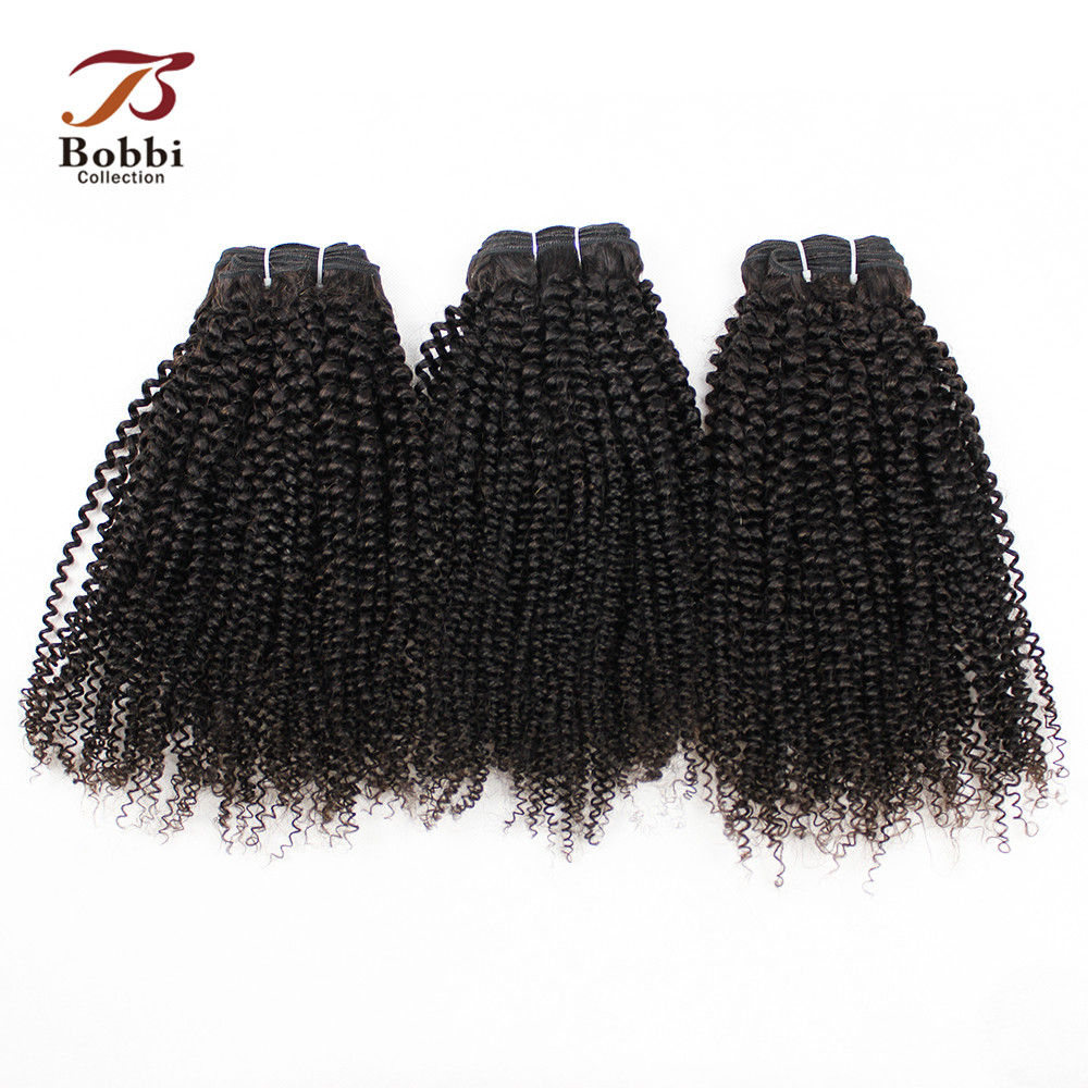Afro Kinky Curly Hair Weave Bundles 3 Bundles Natural Color Brazilian Non-Remy Human Hair Extension Bobbi Collection