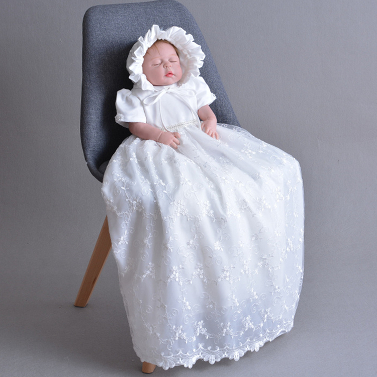2018 Newborn Baby Christening Party Dress Gown Full Dress Princess Girls 1 Year Birthday Baby Dresses For Baptism Infant Clothes цена