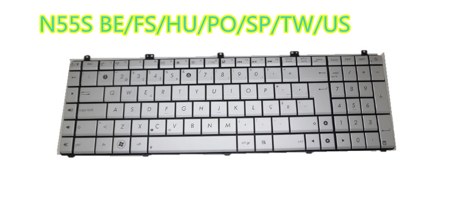 Laptop <font><b>Keyboard</b></font> For <font><b>ASUS</b></font> <font><b>N55S</b></font> Silver Seven Languages BE/FS/HU/PO/SP/TW/US MP-11A16BO69202 AENJ5B01010 MP-11A13PS69202 image