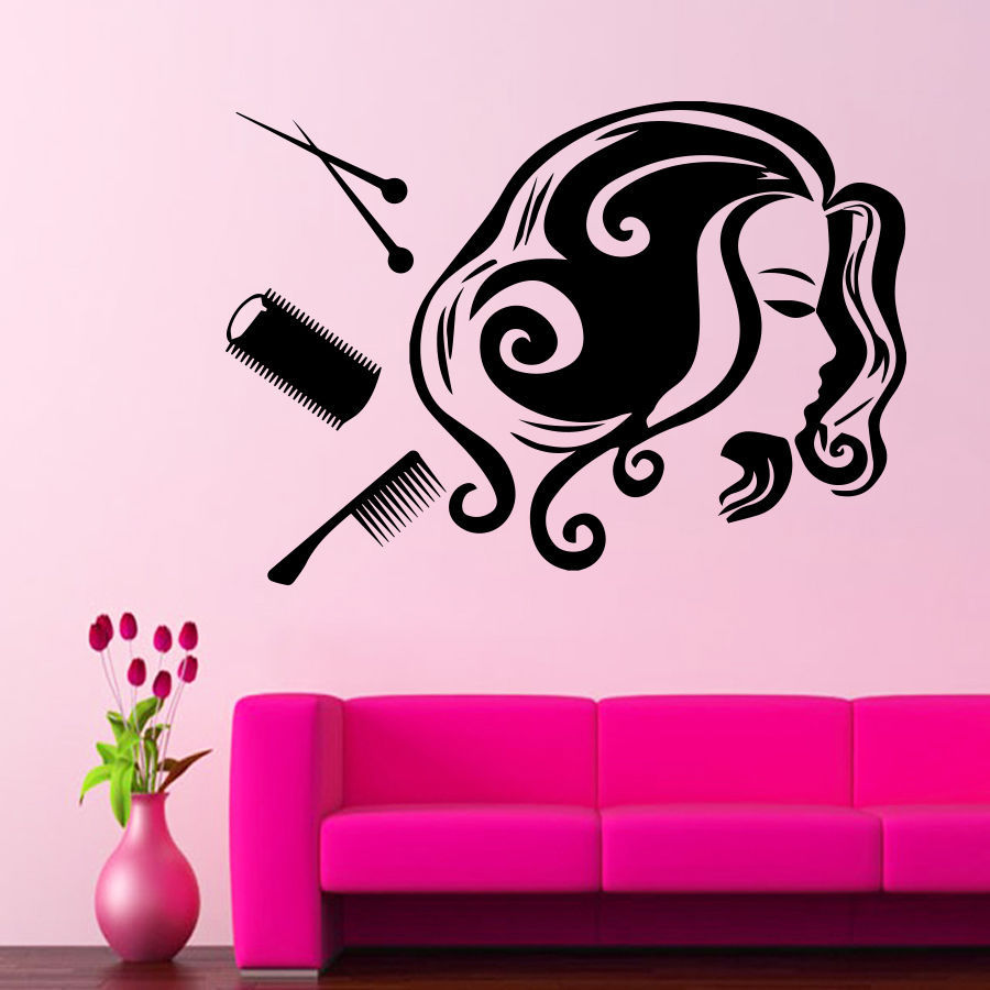 Salon Sticker Beauty Decal Hair Barber Shop Sexy Girl Posters Vinyl ...