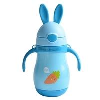Cartoon Rabbit Model Children Drinkware Travel Mug With Straw Carrot Pattern Baby Thermo Mug Lovely Cute Girl Vacuum Cup