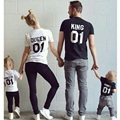 Spring Family Matching Clothes Printed KING QUEEN PRINCE PRINCESS Father Mother Daughter Son T-shirt Big Size Plus Size To 3Xl