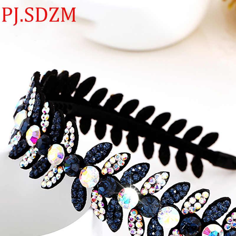 c97990c4236 ... Luxury Bright Austria Crystal Headbands All Match Leaf Rhinestone  Hairbands Woman Hair Accessory Headwear Birthday Gift ...