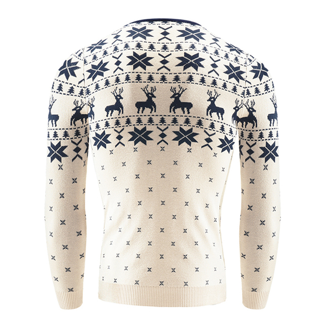 2017 Autumn Winter Pullover Men Christmas  Sweater Jumper V Neck Deer Pattern Slim Fit Knitted Christmas Sweaters Knitwear 5