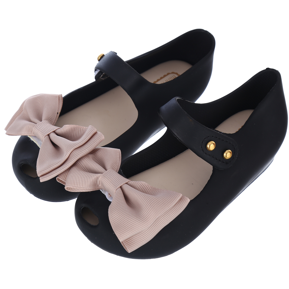 Memon girls Ballet Shoes kids rain shoes big bowknot rubber cute Girl sandal buckle slipper Fruit jelly 3 color size 6-11