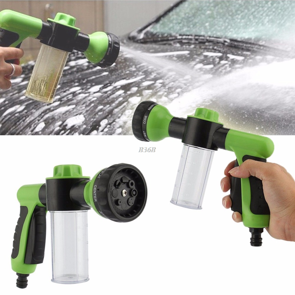 Hose Spray Nozzle >> 8 in 1 Jet Spray Gun Soap Dispenser Garden Watering Hose ...