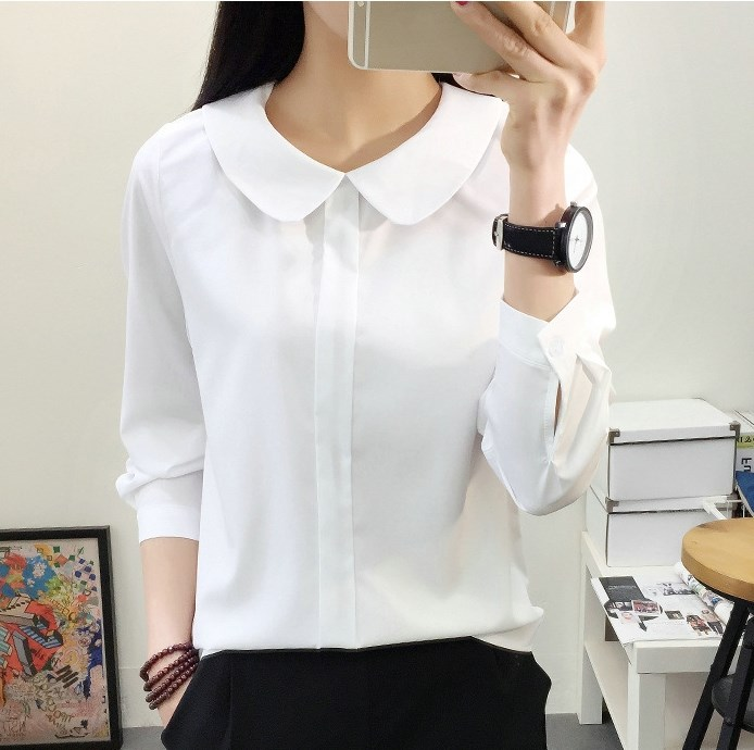 2018 Mori Girls Autumn Long Sleeve Peter Pan Collar White Chiffon Blouse Casual OL Preppy Shirt Japanese Solid School Shirt Tops