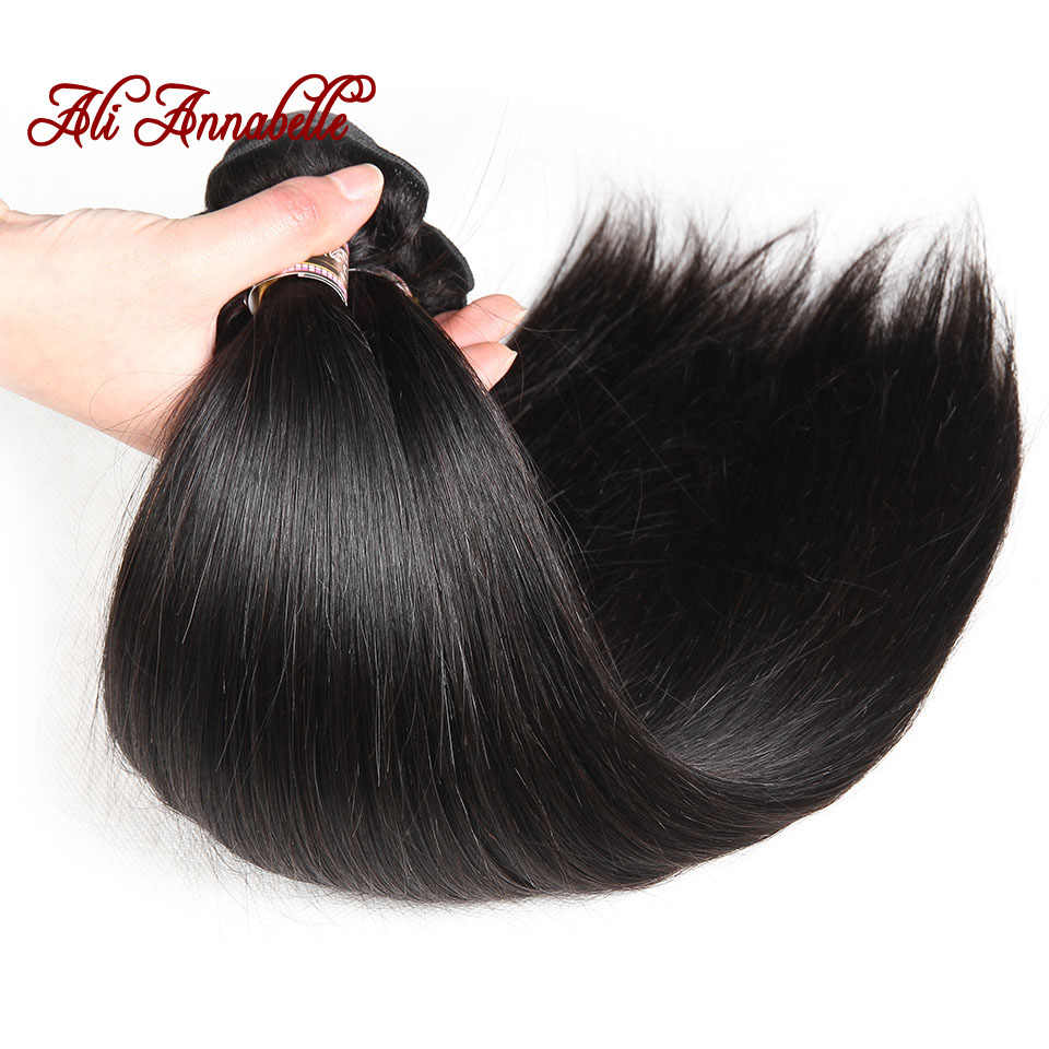 Ali Annabelle Hair Malaysian Straight Hair 3 Bundles with Lace Closure 100% Remy Human Hair Wave With 4*4 Swiss Lace
