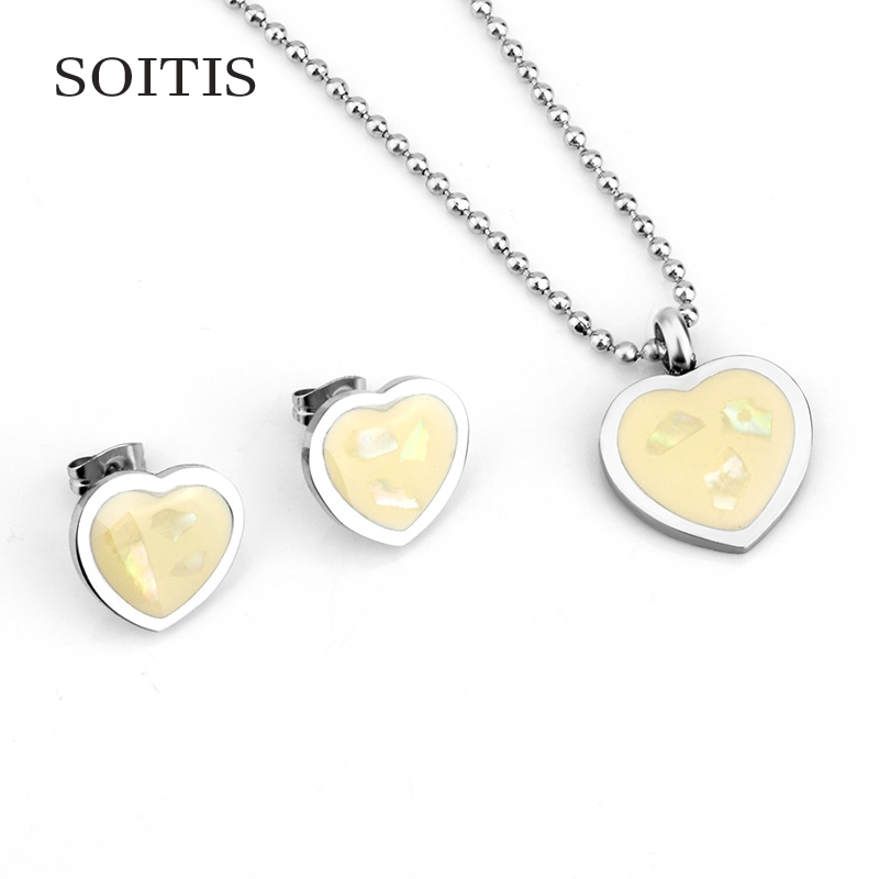 SOITIS Women Jewelry Sets Heart Pendant Earrings Necklace Fashion Sliver Color Bead Chain Choker Stainless Steel
